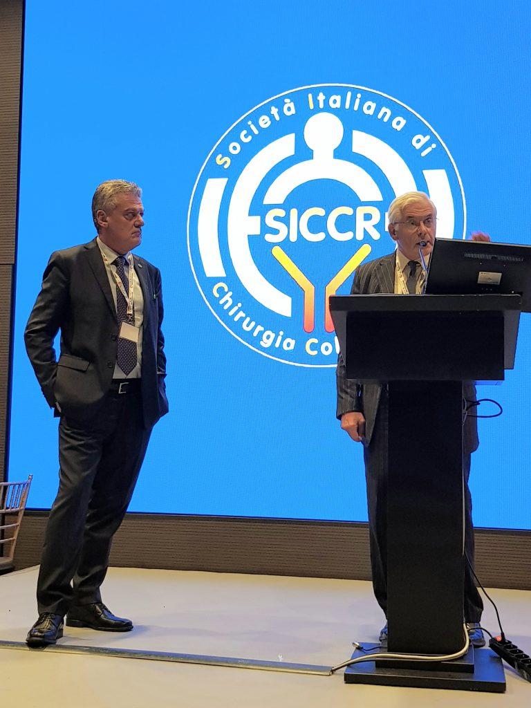 Prof. John Nicholls (destra)  e Dr. Mario Trompetto (sinistra) alla SICCR – Roma 2017