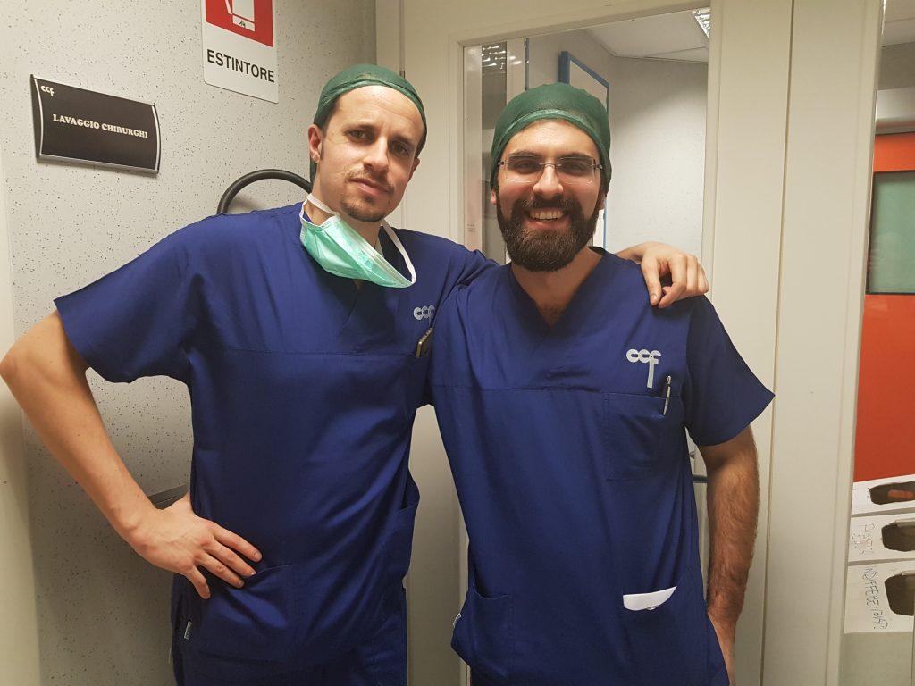 Dr. Sturiale con il Dr. Quartararo in sala operatoria presso il CCF