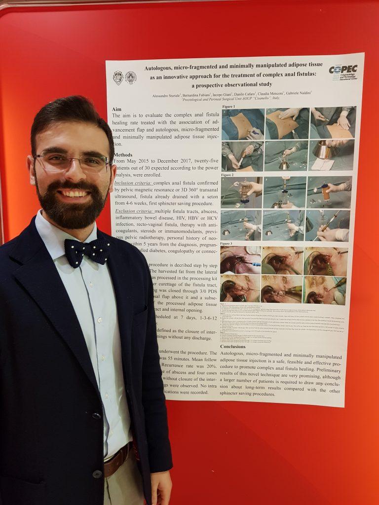 Dr. Sturiale ha presentato un recente lavoro sulle fistole anali al congresso IMOC2018
